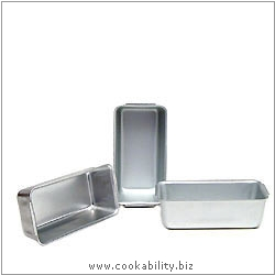Silver Anodised Mini Loaf Tins. Original product image, © Cookability