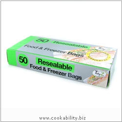Cookability Resealable Food and Freezer Bags. Original product image, © Cookability