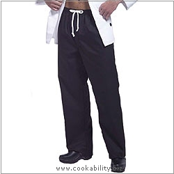 Cookability Black Chef's Trousers. Derived work from original images, © Greenbergs, used with permission.
