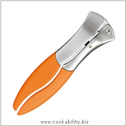 Cast Designer Tools Garlic Press Orange. Derived work from original images, © Thomas Plant 2008 onwards, used with permission.