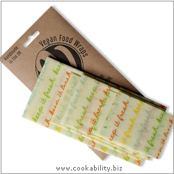 Vegan Food Wrap Kitchen Pack Large. Derived work from original images, © The Beeswax Wrap Co Ltd, used with permission.