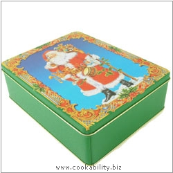 Gift Tins Rectangular Santa. Original product image, © Cookability