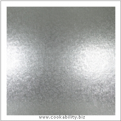 Cookability Silver Cake Card Square. Original product image, © Cookability