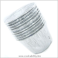 Cookability Foil Mini Pudding Basins 10 pack. Original product image, © Cookability