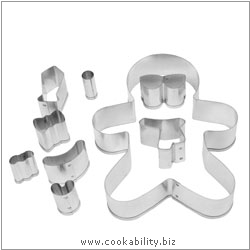 Cookability Gingerbread Man Cookie Cutter Set. Original product image, © Cookability