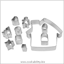 Cookability Gingerbread House Cookie Cutter Set. Original product image, © Cookability