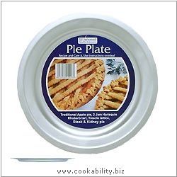 Silver Anodised Pie Plate. Original product image, © Cookability
