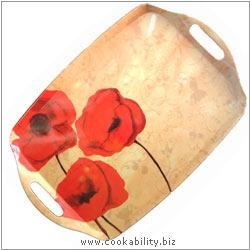 Cookability Poppies Romance Melamine Tray. Original product image, © Cookability