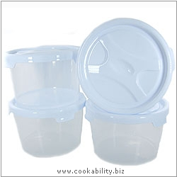Cookability Round Container Set of Four. Original product image, © Cookability