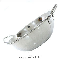 Cookability Stainless Balti Dish. Original product image, © Cookability