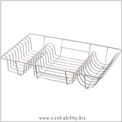 Cookability Chrome Dish Drainer. Original product image, © Cookability