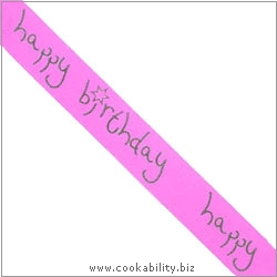 Ribbon Happy Birthday Magenta. Original product image, © Cookability