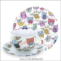 Cookability Retro Owl Tea Set. Original product image, © Cookability