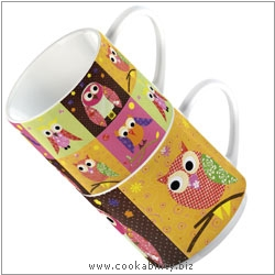 Cookability Patchwork Owl - Stacking Mugs. Original product image, © Cookability