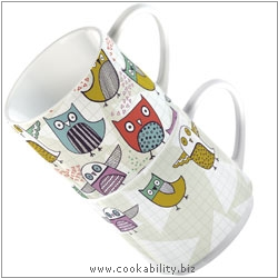 Cookability Retro Owl - Stacking Mugs. Original product image, © Cookability