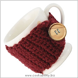 Cookability Katie Alice Mug with Knitted Jacket. Original product image, © Cookability