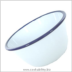 Enamelware Pudding Basin. Original product image, © Cookability