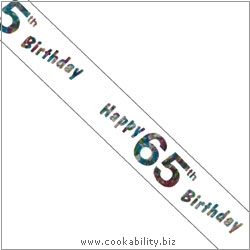 Ribbon Happy 65th Birthday. Original product image, © Cookability