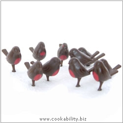 Xmas Cake Decorations Flock of Robin Redbreasts. Original product image, © Cookability