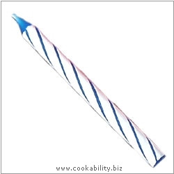 Cookability Blue Birthday Cake Candle Spiral. Original product image, © Cookability