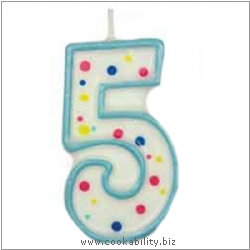 Culpitt Blue Birthday Numeral Candle - Five. Original product image, © Cookability