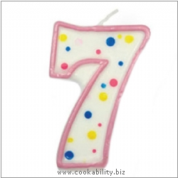 Culpitt Pink Birthday Numeral Candle - Seven. Original product image, © Cookability
