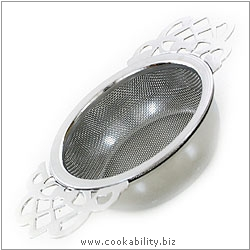 Cookability Tea Strainer with Bowl. Original product image, © Cookability