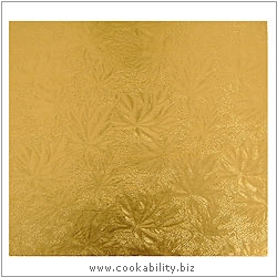 Cookability Gold Cake Drums Square. Original product image, © Cookability