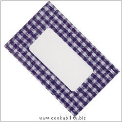 Cookability Jam Pot Labels Self Adhesive Blue Gingham. Original product image, © Cookability