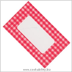 Cookability Jam Pot Labels Self Adhesive Red Gingham. Original product image, © Cookability