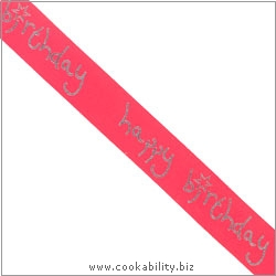Ribbon Happy Birthday Red. Original product image, © Cookability