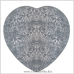 Cookability Silver Thin Cake Drum Heart. Original product image, © Cookability