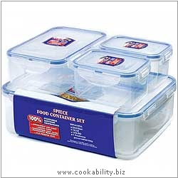 Lock and Lock Five Piece Food Store Set. Original product image, © Cookability