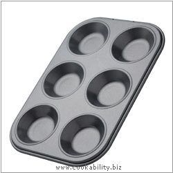 Bakeware Shallow 6 hole Pan. Derived work from original images, © Thomas Plant 2006 and prior, used with permission.