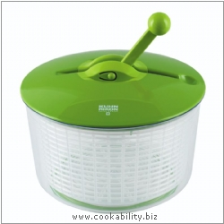 Cooks' Tools Large Ratchet Salad Spinner. Derived work from original images, © Kuhn Rikon (UK) Ltd, used with permission.
