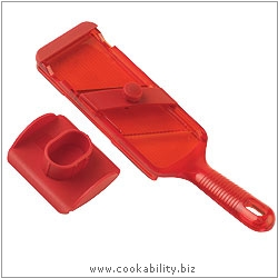 Cooks' Tools Adjustable Mandoline Red. Original product image, © Cookability