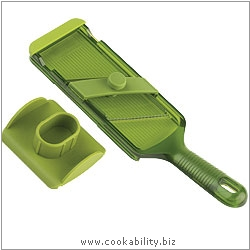 Cooks' Tools Adjustable Mandoline Green. Original product image, © Cookability