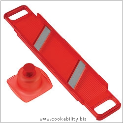Cooks' Tools Dual Thick and Thin Mandoline Red. Original product image, © Cookability