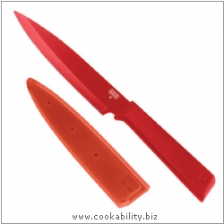 Colori Plus Red Serrated Utility Knife. Derived work from original images, © Kuhn Rikon (UK) Ltd, used with permission.