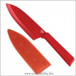 Colori Plus Red Large Santoku Knife. Derived work from original images, © Kuhn Rikon (UK) Ltd, used with permission.