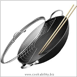 Table Cooking Jampur Wok Set. Derived work from original images, © Kuhn Rikon (UK) Ltd, used with permission.