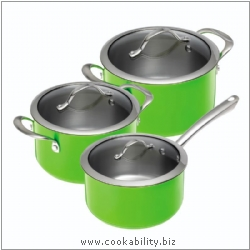 Colori Green Cookware Set 16,20,24cm. Derived work from original images, © Kuhn Rikon (UK) Ltd, used with permission.