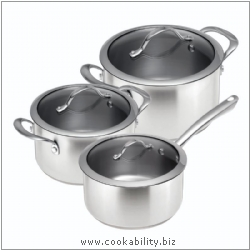 Colori Stainless Matt Cookware Set 16,20,24cm. Derived work from original images, © Kuhn Rikon (UK) Ltd, used with permission.