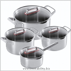 Modern Cookware Set 1.5l,2l,3l,5l. Derived work from original images, © Kuhn Rikon (UK) Ltd, used with permission.
