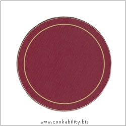 Melamine Coasters Red Round. Original product image, © Cookability