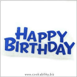 Cookability Happy Birthday Cake Decoration Blue. Original product image, © Cookability