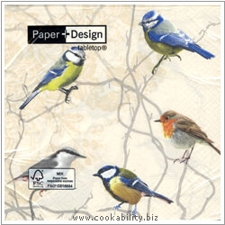 Triple-Ply Garden Birds Napkins. Original product image, © Cookability