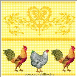 Triple-Ply Rooster Napkins. Original product image, © Cookability
