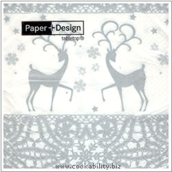 Triple-Ply Two Deers Silver Napkins. Original product image, © Cookability