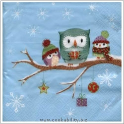 Cookability Xmas Napkins: Owls in Snow. Original product image, © Cookability